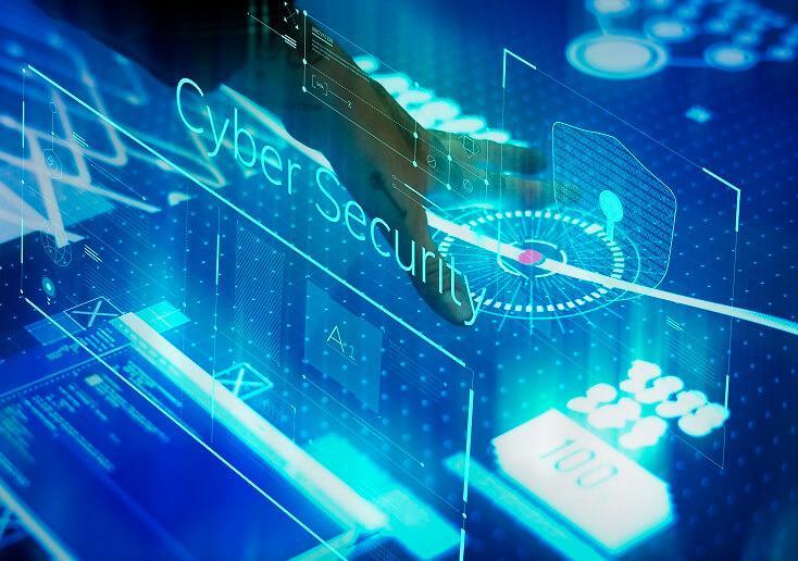 Nueva información de tecnología en una pantalla. Mensaje Cyber Security.
