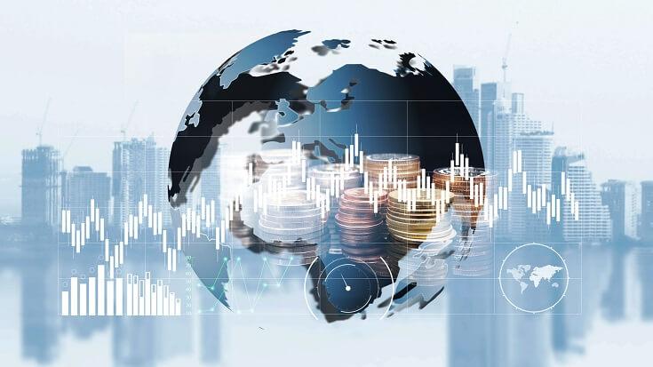 Gráficas, intercambio de dinero y finanzas mundiales