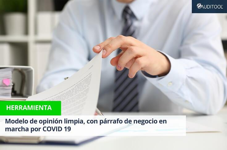 Modelo de opinión limpia, con párrafo de negocio en marcha por COVID 19